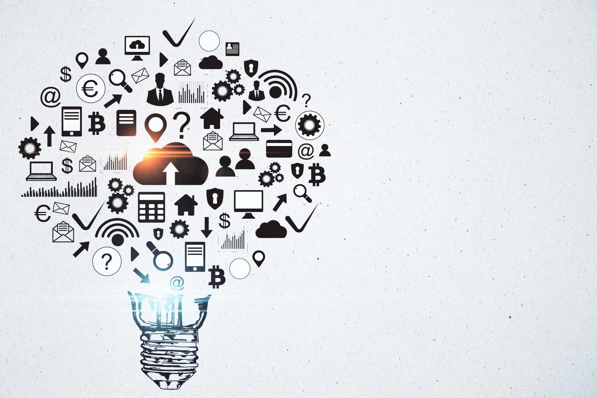formato de lâmpada feita com digrama composto por tecnologia representando mindset digital